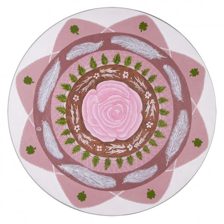 Mandala do amor com rosa e penas - D 40 cm - AST - 2008